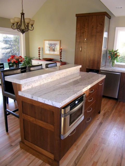 Two Tier Granite Topped Island with Thick Edge Detail