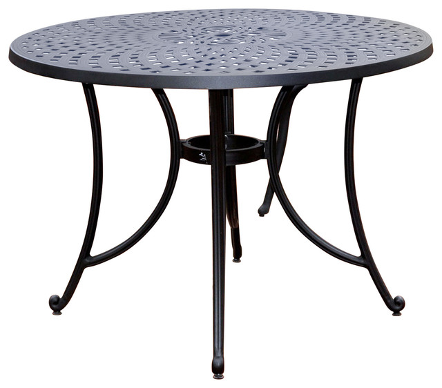 round 42 inch cast aluminum outdoor dining table in charcoal black