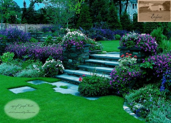 garden steps & plantings - traditional