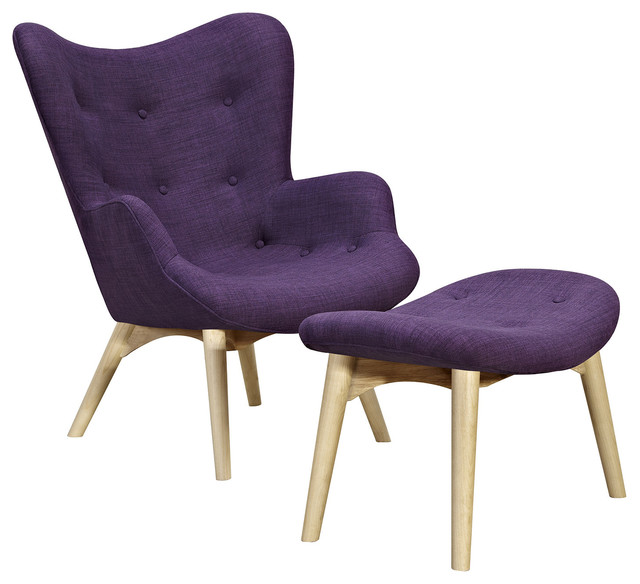 Plum Purple Aiden Chair Natural  Midcentury  Armchairs