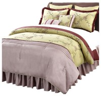 Terrace Comforter 12 Piece Bed Set, Green and Wine, Queen ...