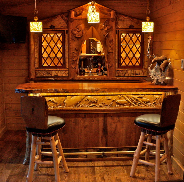 Rustic home bar room