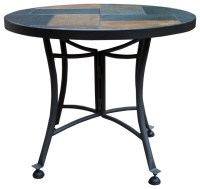 Outdoor Interiors Slate Accent Table With Metal Base
