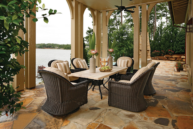 Euro height outdoor wicker chairs and stone patio table