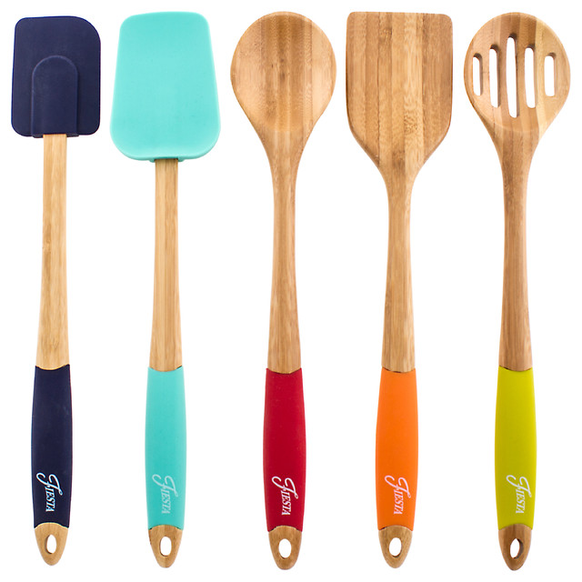 kitchen utensil set liberty cabinet hardware fiesta 5 piece bamboo silicone contemporary cooking sets by cambridge silversmiths ltd