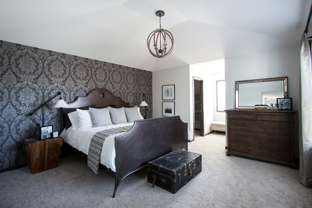 Damask Master Bedroom Feature Wall