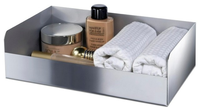 rectangle brass accessories tray with chrome or gold finish