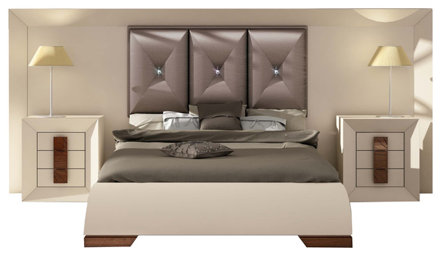 md karen 32 special headboard bedroom set glossy beige cream high gloss king