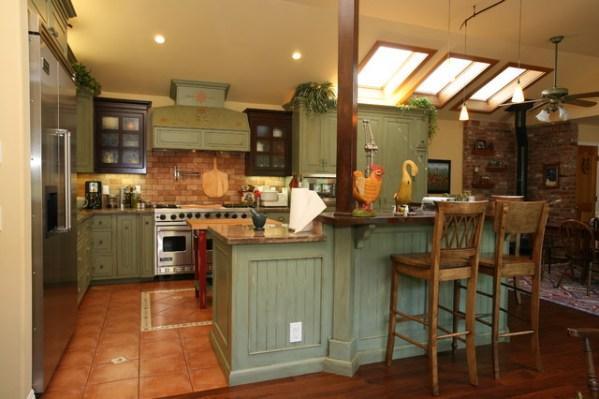 orange and green kitchen decor Country Green Kitchen - Farmhouse - Kitchen - Orange
