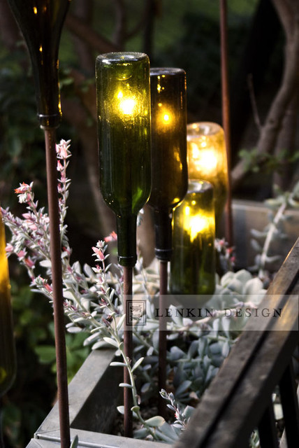 Modern Planter With Wine Bottle Lighting Eclectic Landscape Los Angeles By Lenkin Design