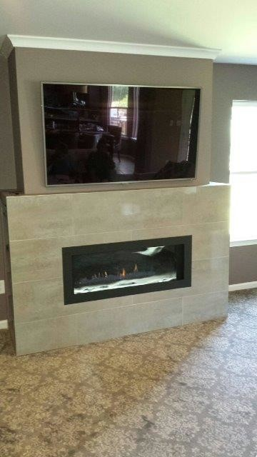 LHD45 Linear Fireplace w Crystaline Ember Bed  Custom