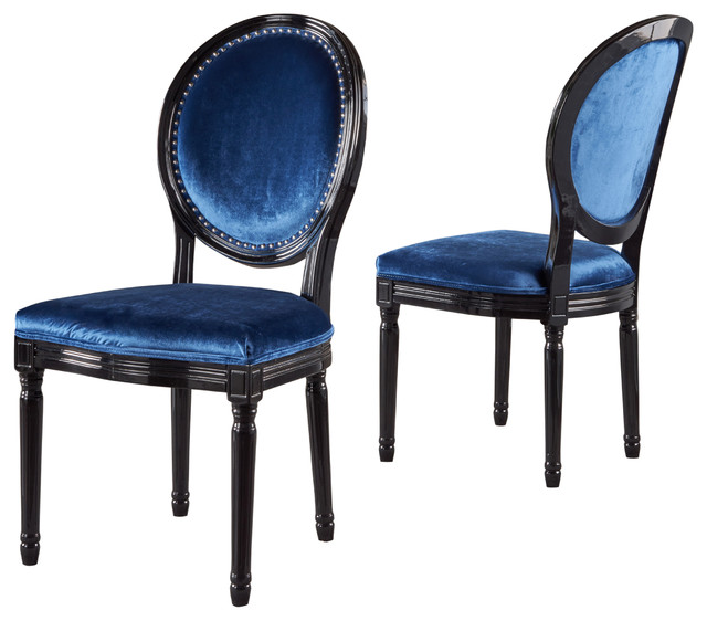 navy blue dining chairs set of 2 chair cover hire pembrokeshire landon traditional new velvet