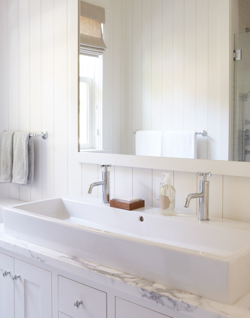 white bathroom with trough sink for two - traditional - bathroom