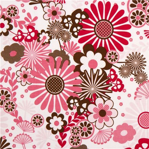 White Riley Blake Fabric With Pink Amp Brown Flowers Amp Reviews Houzz