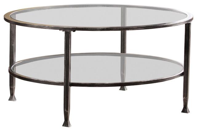 symon metal glass round cocktail table black