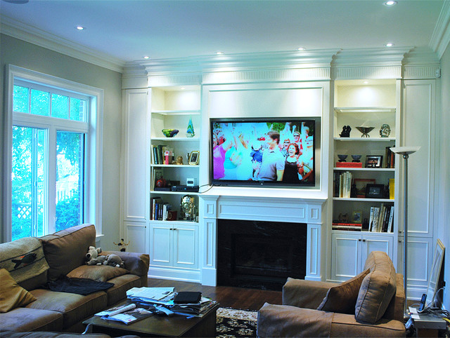 living room design ideas tv over fireplace decor for end tables built in wall unit - traditional toronto ...