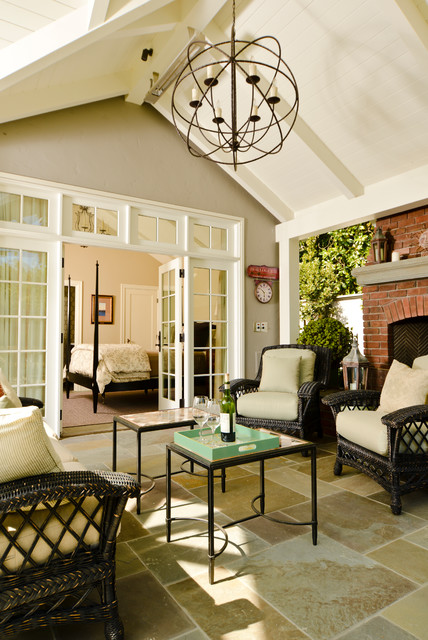 decorating a living room with fireplace and tv midcentury modern stucco tudor cottage - craftsman sunroom san francisco ...