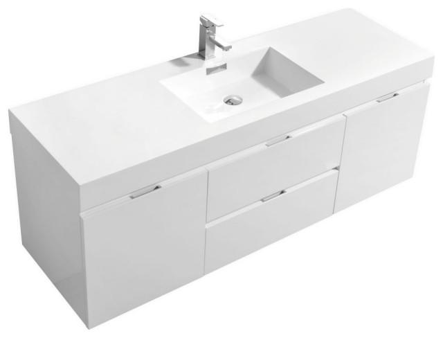 bliss 60 wall mount single sink modern bathroom vanity high gloss white 60