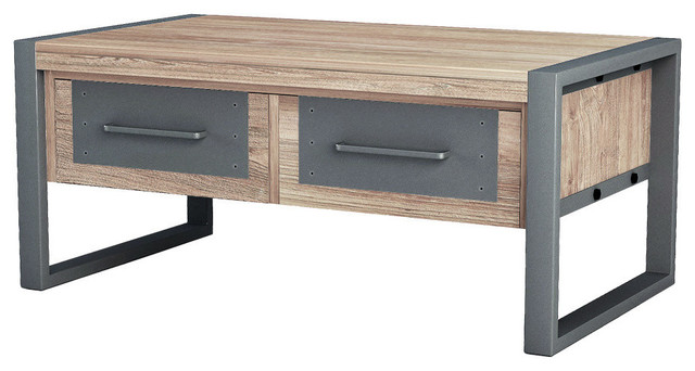 asta teak and iron coffee table industrial modern