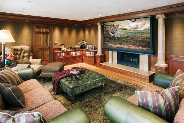 Projector Screen Over Fireplace  Traditional  Family