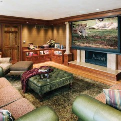 Living Room Lighting Ideas Cathedral Ceiling Used Furniture Projector Screen Over Fireplace - Traditional Family ...