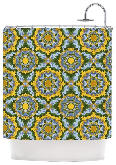 "Anneline Sophia ""Aztec Boho"" Yellow Blue Shower Curtain"