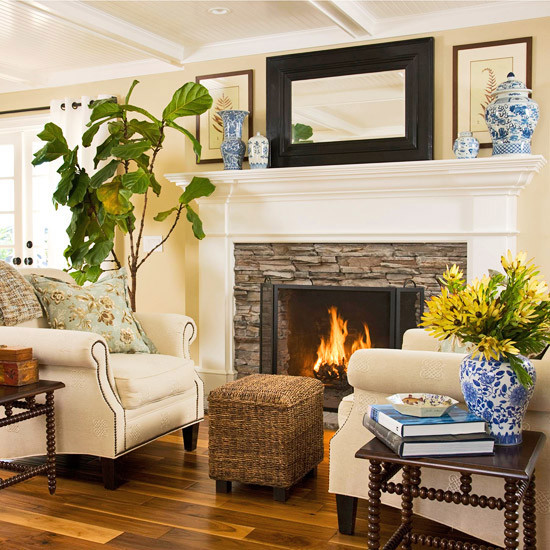 Stacked Stone Fireplace with Wood Mantel