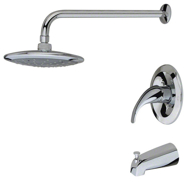 750 3 Piece Rain Head Shower Set  Transitional  Tub And Shower Faucet Sets  by MR Direct