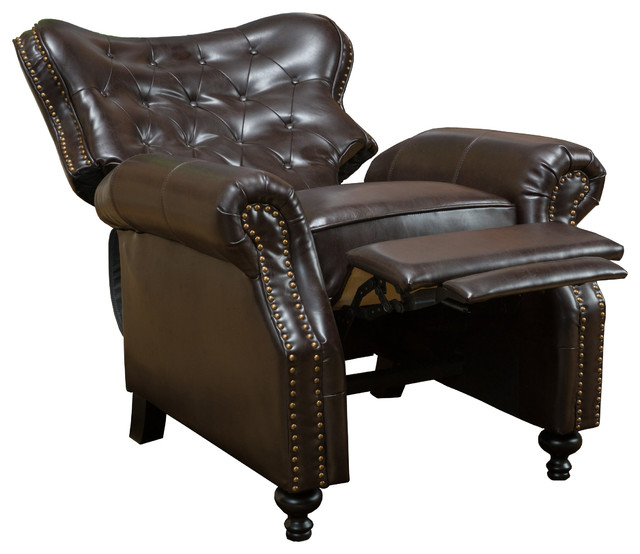 reclining club chair waffle bungee waldo brown leather recliner traditional