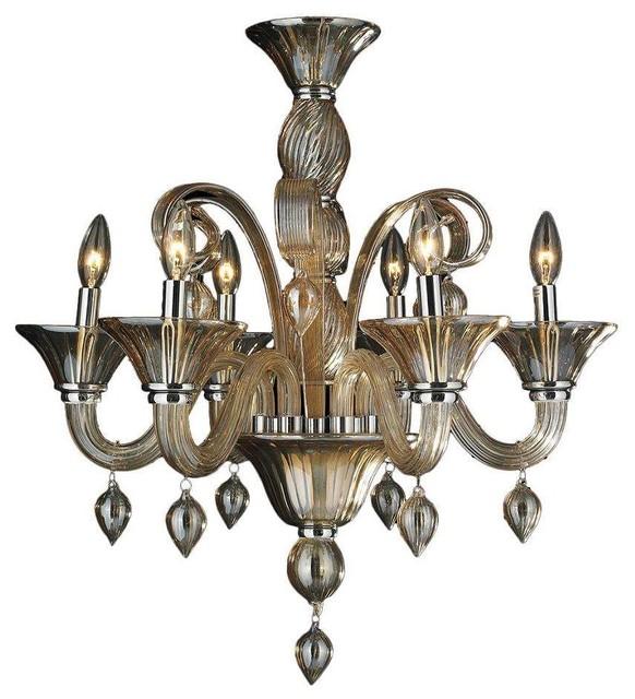 Murano Venetian Style 6 Light N Glass In Amber Finish Chandelier 23 X 27