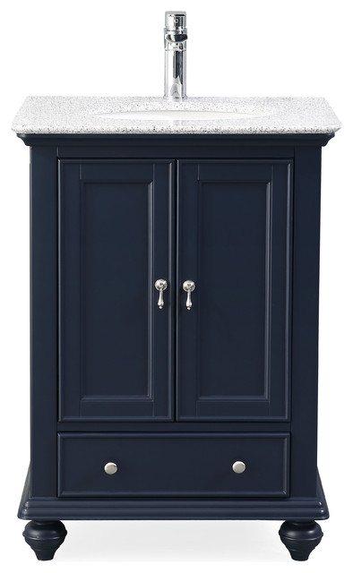 25 Gillian Navy Blue Narrow Bathroom Vanity Traditional Bathroom Vanities And Sink Consoles By Chans Furniture