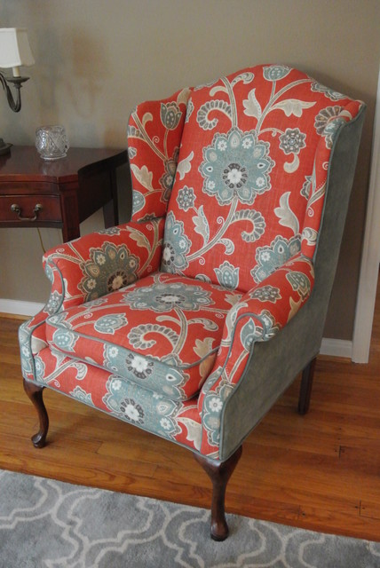 Wingback Chair Makeover  Transitional  Living Room  Detroit