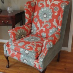 Teal Office Chair Sciatic Nerve Stretch Wingback Makeover - Transitional Living Room Detroit
