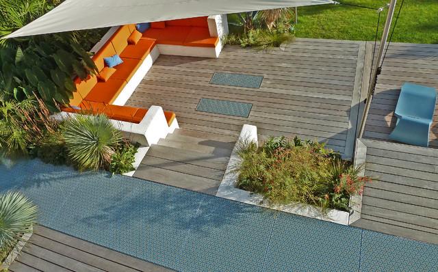 S Photos Terrasse Design Ipe Et Verre Imprime Motif Retro Contemporain Jardin Angers