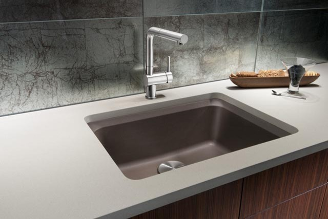swanstone single bowl kitchen sink blue pearl granite blanco vision bowl, silgranit ii - cafe brown ...