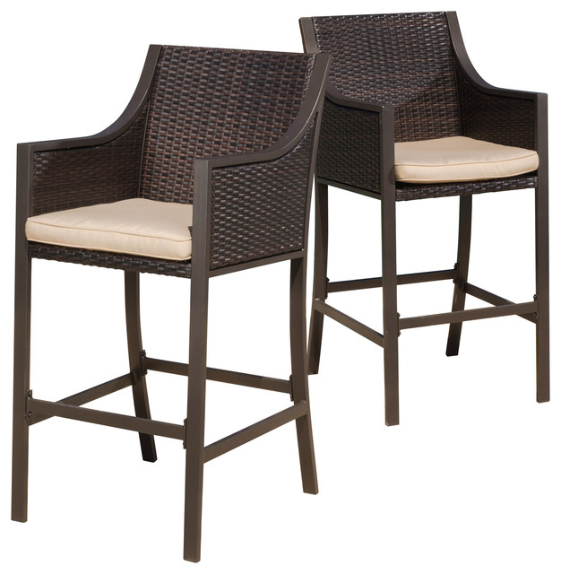 outdoor bar chairs large comfy chair rani brown stools set of 2 tropical and counter by gdfstudio