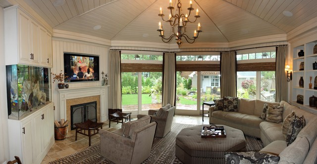 Octagonal Media Room  Traditional  Family Room  Chicago