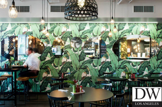 banana leaf dining room chairs la rocking chair store beverly hills martinique wallpaper - beach style los angeles by designer ...