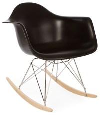 Molded Plastic Rocking Shell Arm Chair, Black - Midcentury ...