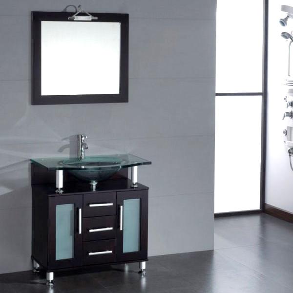 Contemporary 32 inch Glass Single Basin Sink Vanity Set