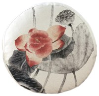 Chinese Lotus Pattern Round Cushion, Chair Cushion, Floor
