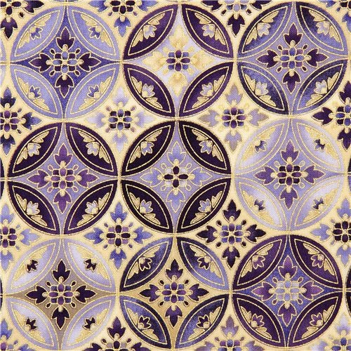 Robert Kaufman Fabric With Purple Flower Ornament Gold Fabric