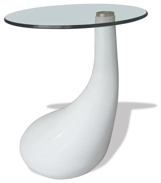 vidaxl coffee table w round glass top high gloss white side end stand table