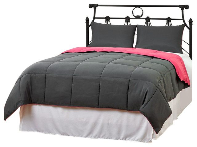 Twin/Twin XL Size 2-Piece Gray Pink Microfiber Comforter