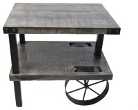 Solid Mango Wood Cast Iron Accent Table, Distressed Gray ...