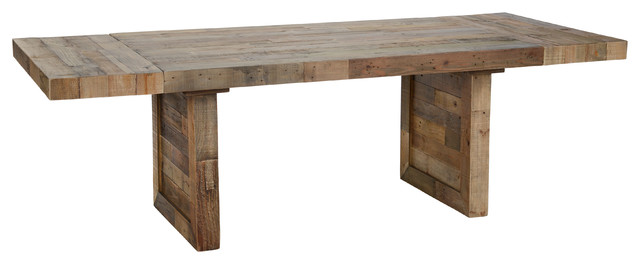 norman reclaimed pine 95 ext dining table distressed natural by kosas home