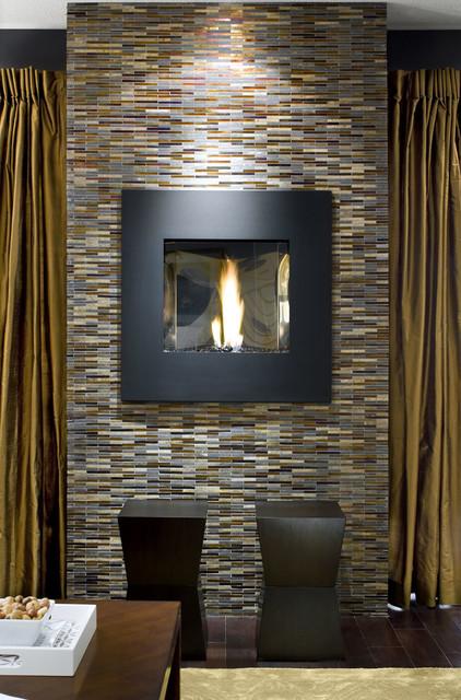 Avani stone  glass mosaic fireplace