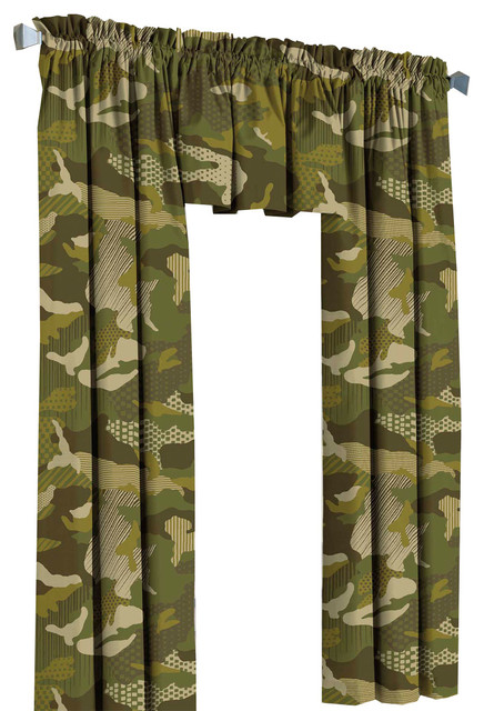 Green Camouflage Drapes Geo Camo Curtain Valance Set