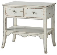 Cottage White Wood Accent Table - Farmhouse - Side Tables ...