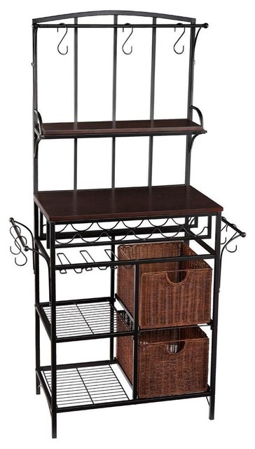 holly martin free standing wine storage baker s rack with rattan baskets